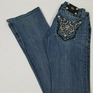 MISS ME Boot Jean JP5395B3 Distressed Bling Sz 25